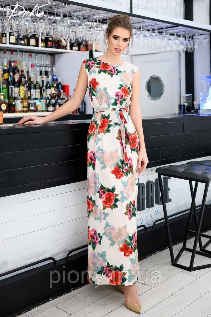 Женское Платье в пол с карманами