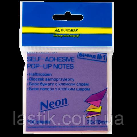 """Блок бумаги для записей NEON, склейка """"гирлянда"""", 76х76 мм, 100 л., ассорти"""