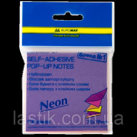 "Блок бумаги для записей NEON, склейка ""гирлянда"", 76х76 мм, 100 л., ассорти, фото 2"