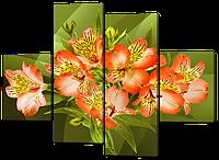 Модульная картина Альстромерии кораллового цвета 126*93 см Код: W538M