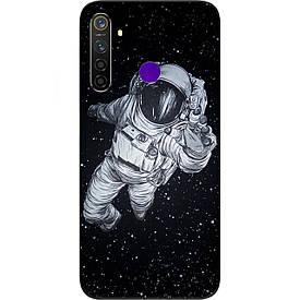 Чехол силиконовый с картинкой для Realme 5 Pro Космонавт