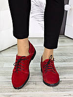 Женские туфли красные замшевые