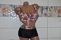 Размер 64! Модный раздельный купальник для женщин на большой объем груди, мягкая чашка на косточках.