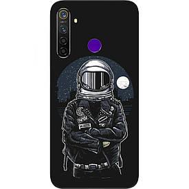 Чехол силиконовый с картинкой для Realme 5 Pro Космонавт и луна