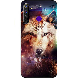 Чехол силиконовый с картинкой для Realme 5 Pro Космический волк