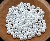 "(20 грамм) Жемчуг бусины пластик Ø6мм ""SOHHI""  (≈170-190шт) Цвет - Белый"