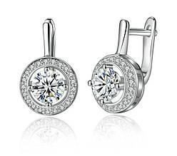 Серьги - подвески серебряные круглые с камнем / сережки женские / подарок девушке / подарок на день рождения