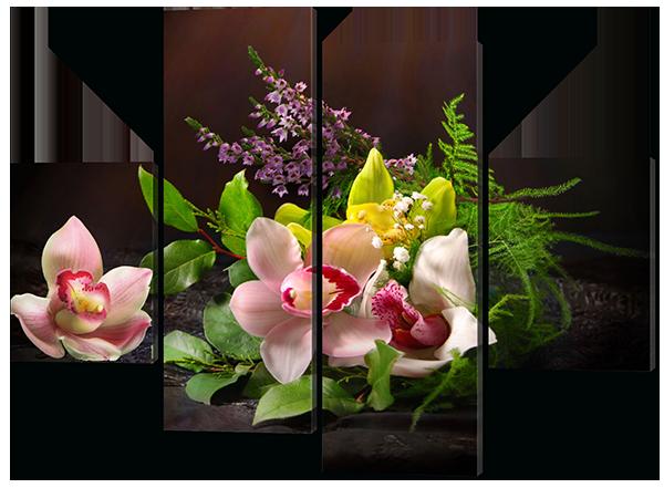 Модульна картина Квіти 120*93 см Код: 506.4 120 к.