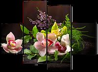Модульная картина Букет из орхидей 126*93 см  Код: W506M