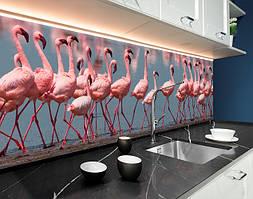 Пластиковый кухонный фартук Розовые Фламинго (ПВХ панель для кухни с фотопечатью, скинали) птицы, розовый, 620*2050 мм