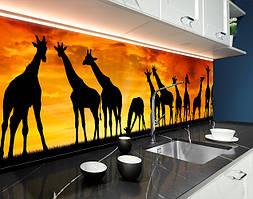 Пластиковый кухонный фартук Жирафи Африка Закат (ПВХ панель для кухни с фотопечатью, скинали) животные, оранжевый, 620*2050 мм