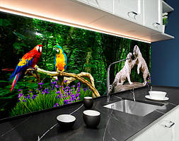 Пластиковый кухонный фартук Тигры коты природа лес(ПВХ панель для кухни с фотопечатью, скинали) животные, зеленый, 620*2050 мм