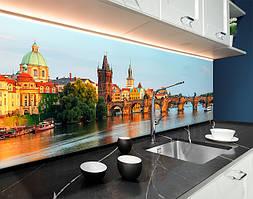 Пластиковый кухонный фартук Каменный мост через реку Италия (ПВХ панель для кухни с фотопечатью, скинали) голубой, 620*2050 мм