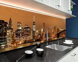 Пластиковый кухонный фартук Ночной город Сепия мост (ПВХ панель для кухни с фотопечатью, скинали), коричневый, 620*2050 мм