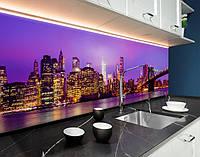 Пластиковый кухонный фартук Яркий город и Мост (ПВХ панель для кухни с фотопечатью, скинали) архитектура, фиолетовый, 620*2050 мм