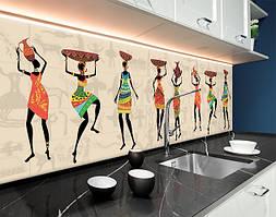 Пластиковый кухонный фартук Этно (ПВХ панель для кухни с фотопечатью, скинали) африканские рисунки, люди, бежевый, 620*2050 мм
