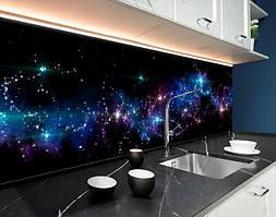 Пластиковый кухонный фартук Космос галактики на черном фоне (ПВХ панель для кухни с фотопечатью, скинали) черный, 620*2050 мм