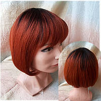 Парик из натуральных волос каре омбре черно-медный ERIN- T1B/350