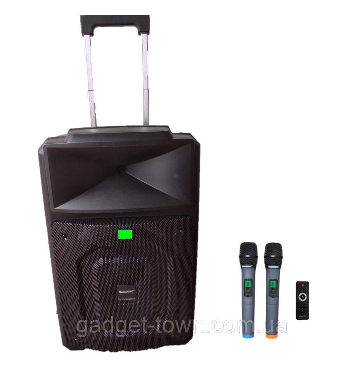 Аккумуляторная колонка профессиональная с микрофонами Temeisheng TMS-1521 / 400W (USB/Bluetooth/Пульт ДУ/ FM)