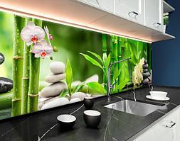 Пластиковый кухонный фартук Лотос Бамбук Черные камни (ПВХ панель для кухни с фотопечатью, скинали) растения зеленый, 620*2050 мм