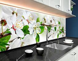 Пластиковый кухонный фартук Рисованные Цветы Вишни ветка (ПВХ панель для кухни с фотопечатью, скинали) зеленый, 620*2050 мм