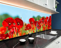 Пластиковый кухонный фартук Яркие красные Маки (ПВХ панель для кухни с фотопечатью, скинали) полевые цветы, красный, 620*2050 мм