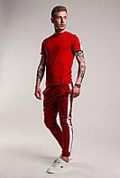Футболка + штаны с лампасами x ALL burgundy   Комплект летний спортивный, фото 1