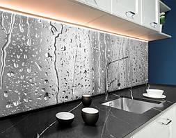Пластиковый кухонный фартук Дождь потоки воды на стекле капли (ПВХ панель для кухни с фотопечатью, скинали) серый, 620*2050 мм