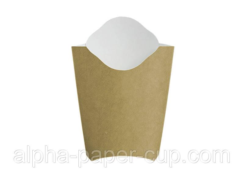 Упаковка фри Maxi буро-белая, 50 шт/уп, 25 уп/ящ.