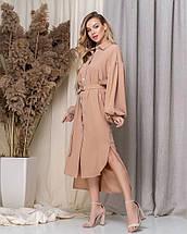 """Асимметричное платье-рубашка """"VLORA"""" с поясом и длинным рукавом, фото 2"""