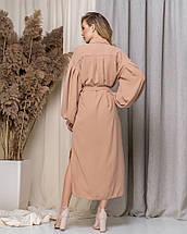 """Асимметричное платье-рубашка """"VLORA"""" с поясом и длинным рукавом, фото 3"""