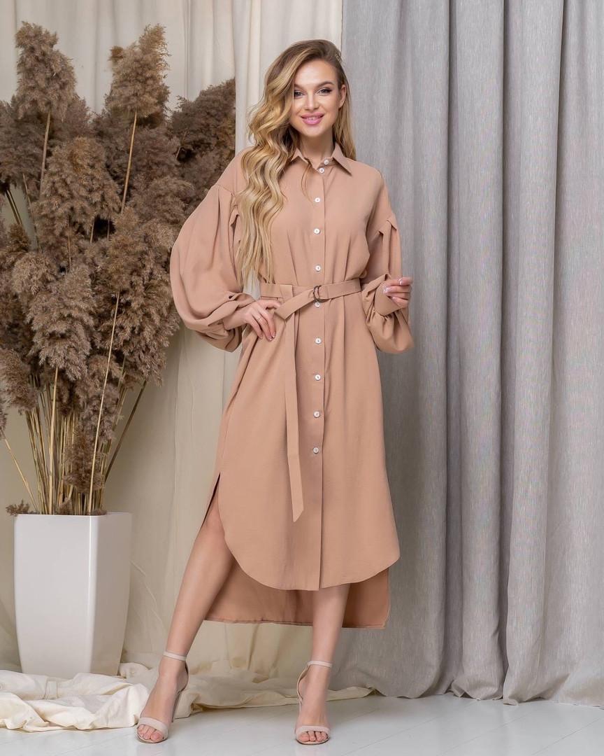 """Асимметричное платье-рубашка """"VLORA"""" с поясом и длинным рукавом"""