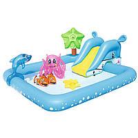Детский надувной бассейн с горкой «Аквариум» Bestway 53052 239х206х86 см KK