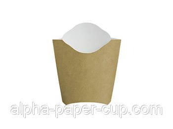 Упаковка фри Mini буро-белая, 50 шт/уп, 40 уп/ящ.