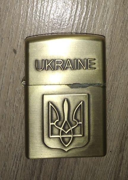 """Бензиновая зажигалка """"Ukraine"""" с гербом"""
