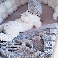Плед Сірий Світлий дитячий в'язаний HappyLittleFox, фото 1
