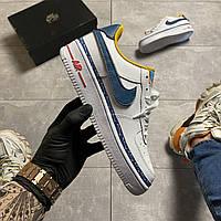 Женские кроссовки Nike Air Force 1 Swoosh Chain, Женские Найк Аир Форс 1 Кожаные Белые
