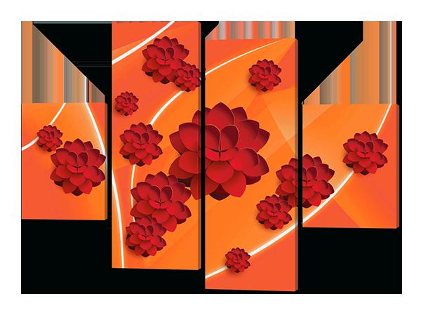 Картины модульные Красные лотосы 126*93 см  Код: W209
