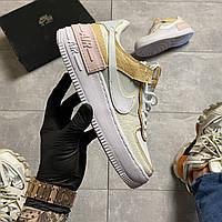 Женские кроссовки Nike Air Force 1 Shadow White, Женские Найк Аир Форс 1 Кожаные Белые