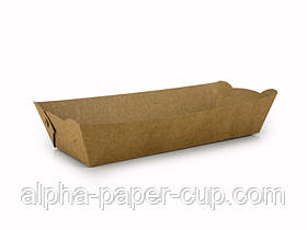 Тарелка 250*100*45 мм крафт длинная с ламинацией, 100 шт/уп, 9 уп/ящ.
