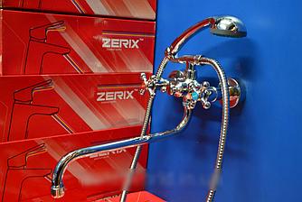 Смеситель для ванны Zerix DFR-A605 двухвентильный с длинным изливом, цвет хром, Смеситель Зерикс