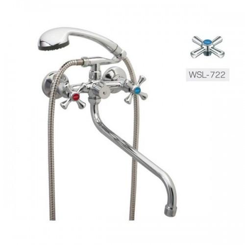 Смеситель для ванны Zerix DMT-A722 двухвентильный с длинным изливом, цвет хром, Смеситель Зерикс