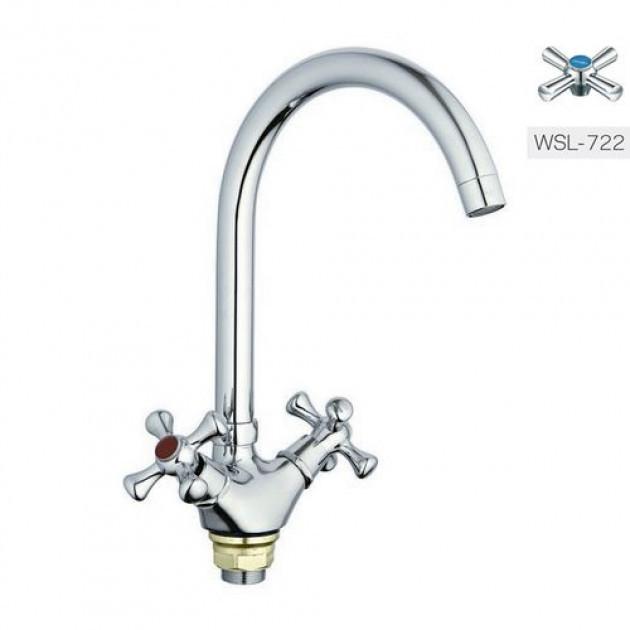 Смеситель для кухни ZERIX TLA-A722,  двухвентильный с высоким изливом, цвет хром, Смеситель Зерикс
