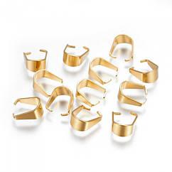 Держатели для Подвесок, Нержавеющая Сталь, Цвет: Золото, Размер: 10х5х0.5мм, Внутренние Отверстие 8.5х5.5мм,