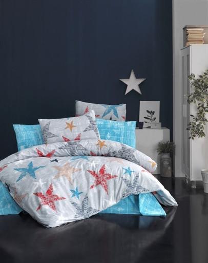 Комплект постельного белья полуторный Ranforce COLORED STARS 160x220 (6090_1.5LH)