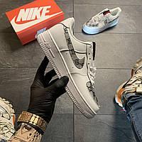 Женские кроссовки Nike Air Force Low White GG Custom, Женские Найк Аир Форс Лоу Кожаные Белые