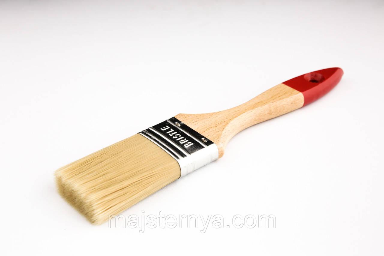 """Пензель флейцевий """"Люкс"""" 2 Voroshchuk з дерев'яною ручкою нейлоновий ворс 50*15"""