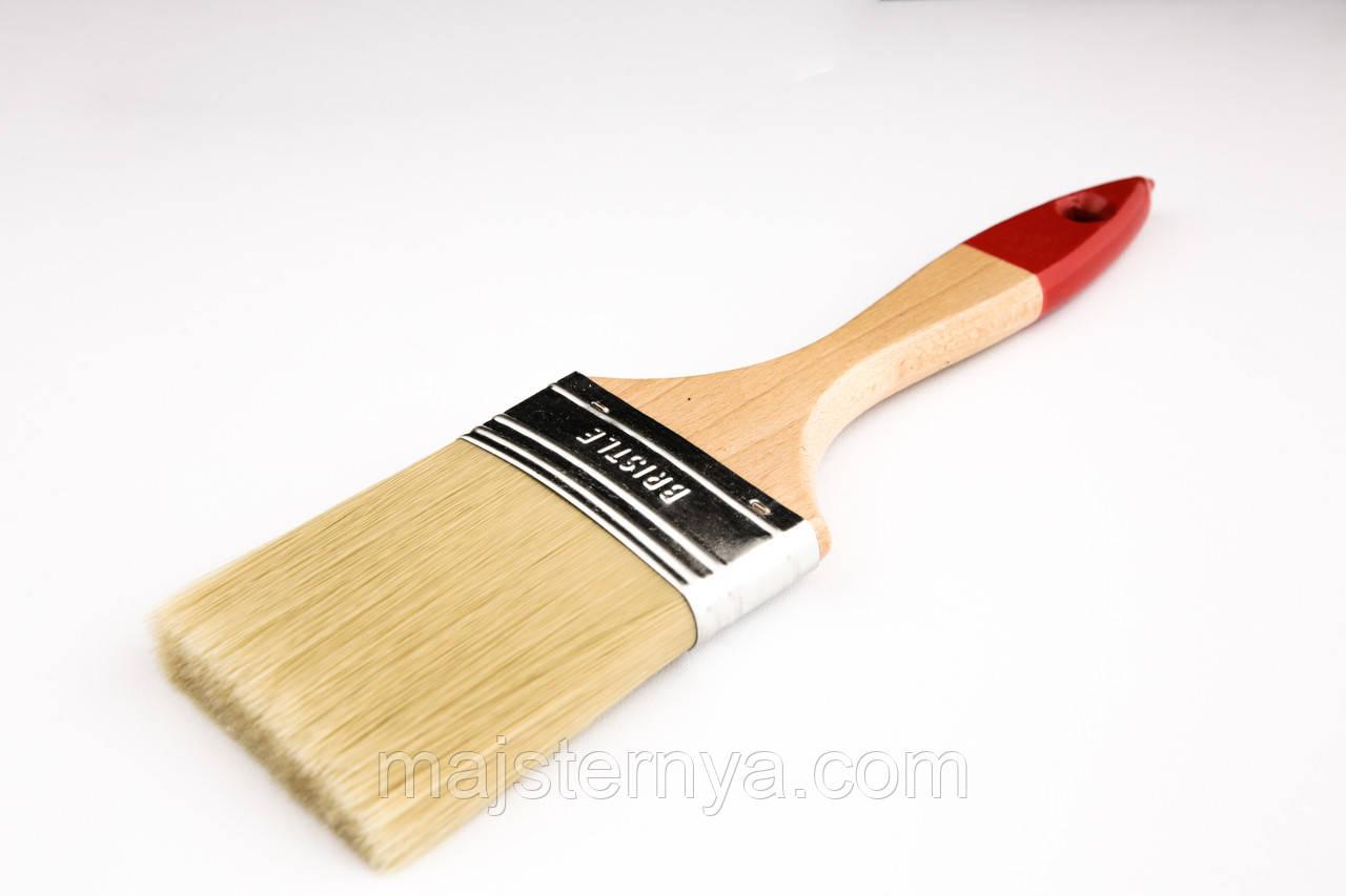 """Пензель флейцевий """"Люкс"""" 3 Voroshchuk з дерев'яною ручкою нейлоновий ворс 76*15"""