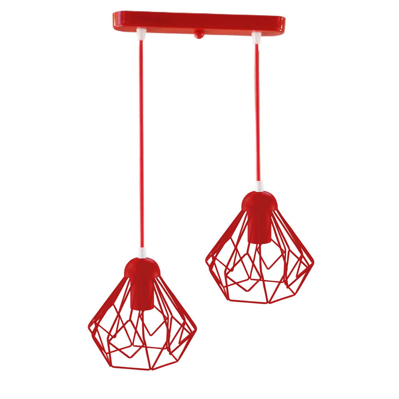 Подвесной  светильник, индустриальный стиль стиль, loft, vintage SKRAB-2 Е27  красный