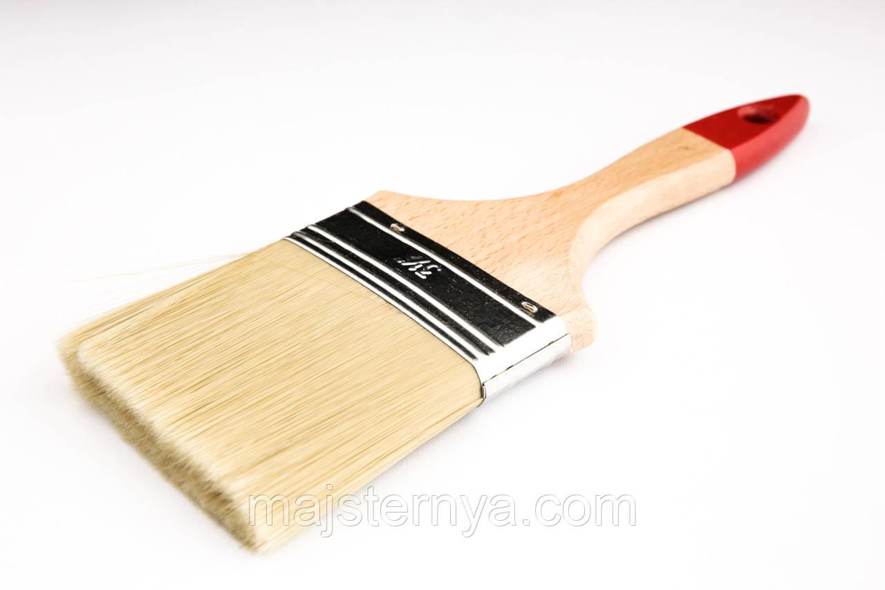 """Пензель флейцевий """"Люкс"""" 3,5 Voroshchuk з дерев'яною ручкою нейлоновий ворс 90*15"""